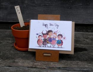 Primoza einpflanzbare Grußkarte Happy Bee Day