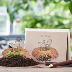 Die Stadtgärtner einpflanzbare Grußkarte Bee happy