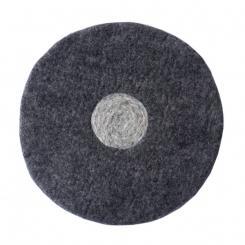 Handgefilzte fair trade Sitzmatte rund dunkelgrau/grau