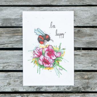 """Der Wachsende Kalender - Einpflanzbare Grußkarte """"Bee happy"""""""