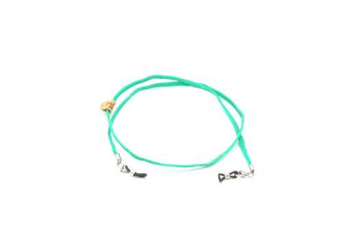 Upcycling Brillen-/Maskenkette aus Fischernetz türkis/grün