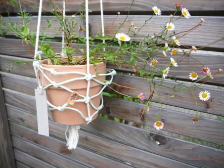 "Colorswell - Upcycling Blumenampel ""hellblau"" aus Fischernetz"