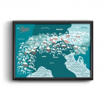 """Roadtyping - Art Print """"Die Alpen Karte"""""""